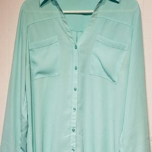 Express long sleeve button up sheer blouse